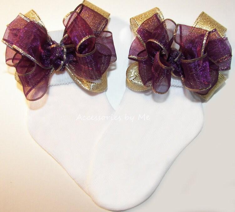 Wine Gold Bow Socks Organza Metallic Sparkly Girls Dressy Baby Infant Newborn