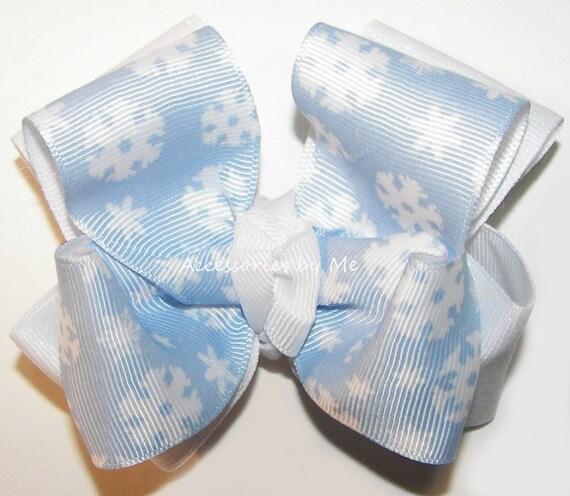 d4905400b Blue Snowflake Bow Blue White Bow Clip Blue Snowflake