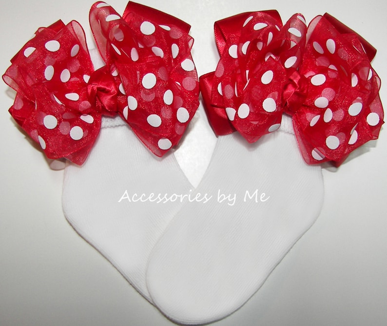 Girls Birthday Socks Disney Baby Sock Baby Girl Red White Socks Frilly Red Polka Dot Bow Socks Minnie Mouse Socks Costume Pageant Socks