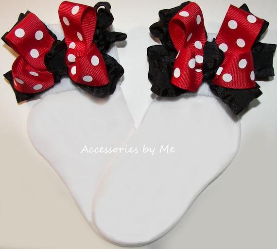 Handmade red polka dot frilly socks baby//girls 6 sizes available