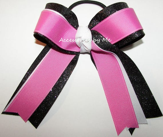 Gymnastics Bow Red Black Gold Sparkly Glittery Ribbon Custom Colors Gymnast Gym