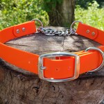 "Adjustable Half Check Dog Collar, 1"" Wide Biothane Buckle Martingale Collar, Custom Colors & Sizes"