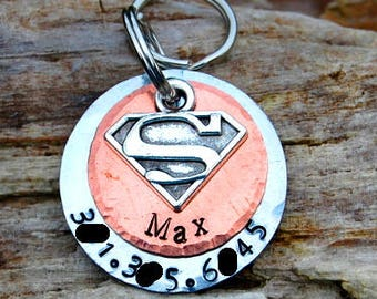 Personalized Superhero Dog ID Tag, Choose Your Color Metal, Superman Dog Tag, Personalized Supergirl Dog ID Tag, Cute Superhero Dog ID Tag