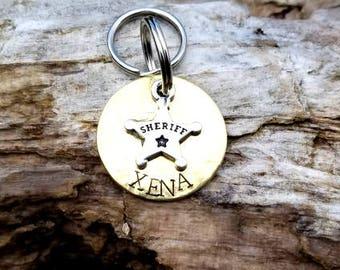 Personalized Sheriff Dog ID Tag, Custom Brass Sheriff Dog Tag, Personalized Fun Police Dog ID Tag, Cute Police Dog ID Tag, Hand Stamped Tag