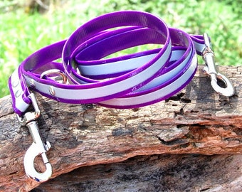 """3/4"""" Reflective Biothane 6-Way Dog Leash Choose Your Color & Closure Type Wear it Around Your Waist or Across Your Body Vegan Leather Leash"""