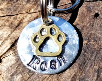 Personalized Hand Stamped Hammered Paw Print Small Dog ID Tag, Custom Hand Stamped Hammered Paw Print Cat ID Tag, Personalized Cat ID Tag