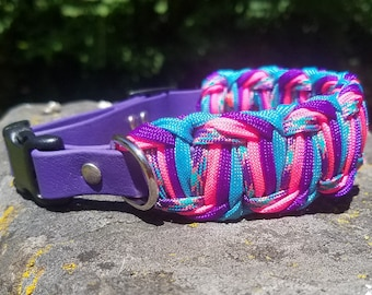 """Custom 1 1/4"""" Strong Biothane & Paracord Adjustable Dog Collar, Choose Your Colors, Dog Lovers Gift, Paracord and Vegan Leather Dog Collar"""