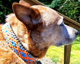 Custom Deluxe Double Diamond Paracord Dog Collar, Choose Your Colors & Closure Type, Thick Collar Wide Braided Collar Native Inspired Collar