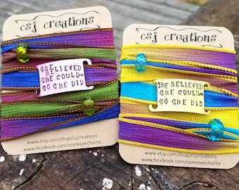 She Believed She Could So She Did Silk Wrap, Custom Silk Wrap Bracelet, Custom Boho Gypsy Bracelet, Christmas Bracelet, Gifts for Her