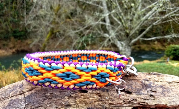 Adjustable Paracord Dog Collar Half Check Martingale Custom Colors and Closure Buckle Available in Slide Chainmail Weave