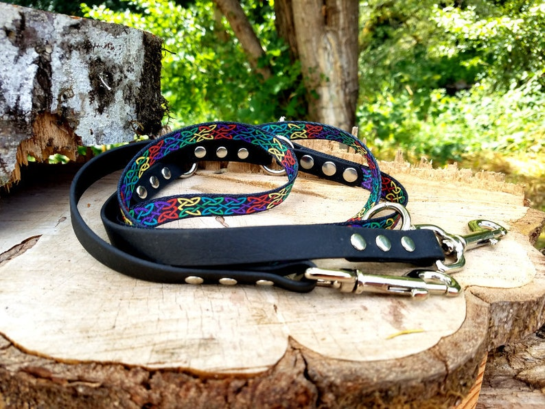 Brass 58 Wide Biothane Waterproof Hands Free Leash Steel Poly Web Adjustable Dog Leash Stainless and more! Custom Colors and Snaps