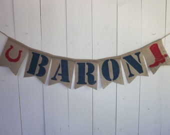 3251cba2dd779 Large Cowboy Name Banner - Western Style Personalized Name Bunting - Rodeo  Style Custom Name Garland - Cowboy Boot with Spurs - Horse Shoe