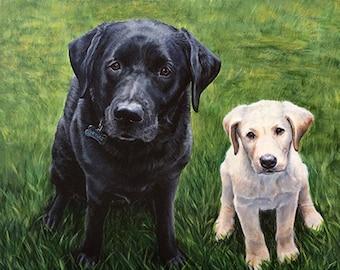 Custom Portrait Pet Painting, Two subject