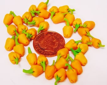1:12 Scale Set of 10 Orange Bell Peppers Dolls House Miniature Food Vegetables Accessory