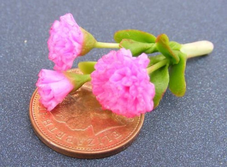 Ogród Zabawki 1:12 Scale 10 Carnation  Flowers Orange Dollshouse Miniatures Flowers,