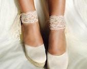 BEVERLY Lace Ivory Lace Platform Wedge Lace Up Espadrille Boho style Wedding, comfortable wedding shoes, bohemian bride, ivory wedges,