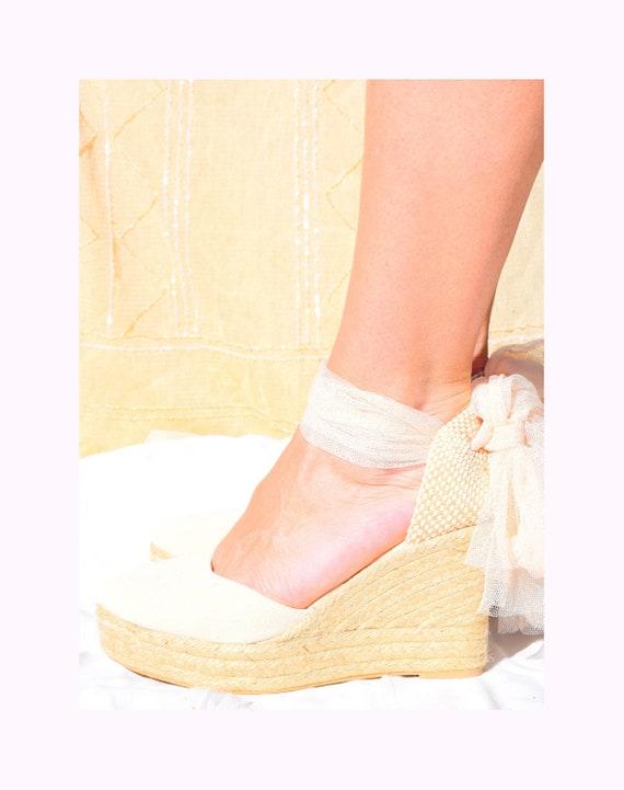 Ivory Swan Tulle Wedge Wedding Espadrilles Bridal Shoes Etsy