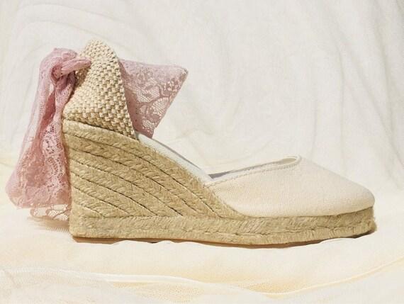 901aa5423688d BOHOIBIZA Ivory Blush Pink Lace Up Espadrille, dance shoes, ballerina  shoes, wedding shoes, bridal shoes, boho shoes, romantic shoes