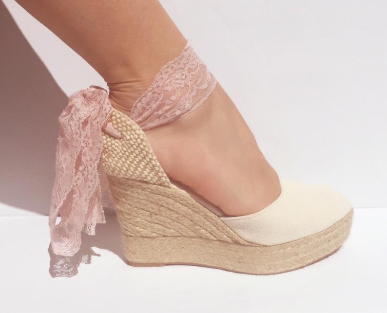 3231ab0fc79c9 BOHOIBIZA Ivory Dusty Pink Lace Up Espadrilles, dance shoes, ballerina  shoes, boho shoes, romantic shoes, bachelorette, sandals, comfortable