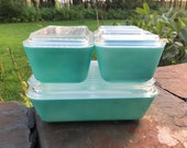Rare Full Set of Pyrex Turquoise Refrigerator Dishes Turquoise Pyrex 501, 502 and 503