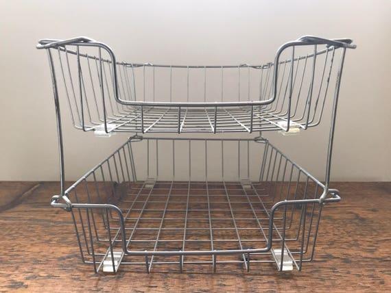 Vintage Wire Baskets / Storage File Basket / Industrial Office | Etsy