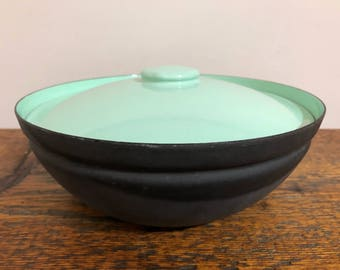 Herbert Krenchel Bowl with Lid - Made in Denmark - Mid Century Modern Enamelware - Krenit Bowl with Lid