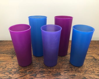 Set of 5 Vintage Tupperware Tumblers in Raspberry, Purple and Blue 107 and 105
