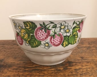 Soviet Vintage RPR Riga Porcelain Factory Hand Painted Bowl with Strawberries, made in USSR