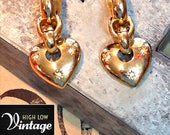 Vintage Courrèges Gold Heart Rhinestone Earrings FREE SHIPPING