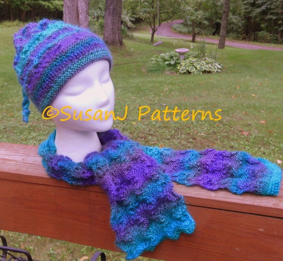 Instant Download Fiddlers Scarf And Hat Lacy Knitting Etsy