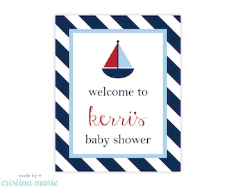nautical baby shower, personalized sign, printable