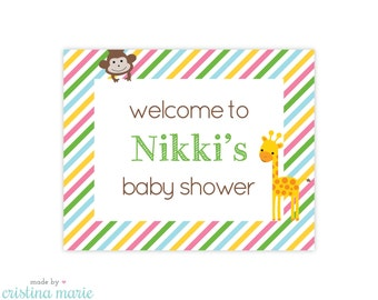 jungle baby shower, personalized printable sign