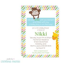 jungle baby shower invitation, personalized invitations, jungle party, printable