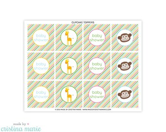 INSTANT DOWNLOAD, jungle baby shower, cupcake toppers, printable cupcake toppers, party circles
