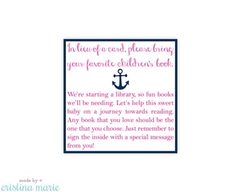 INSTANT DOWNLOAD, nautical girl baby shower, bring a book, printable, printing available