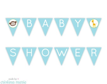 INSTANT DOWNLOAD jungle baby shower, printable pennant banner