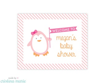 penguin baby shower, personalized sign, printable