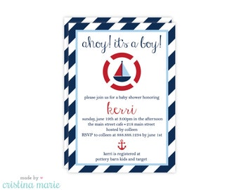 nautical baby shower invitation, nautical boy invitation, personalized invitations, printable