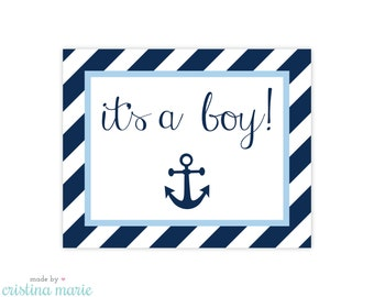 INSTANT DOWNLOAD, nautical baby shower, printable sign, it's a boy
