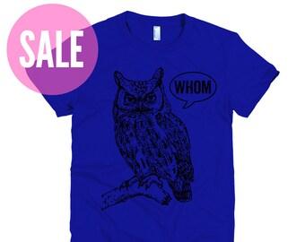 CLEARANCE Who Whom Owl Tee Womens Shirt Womens TShirt English Teacher Gift for Teachers Editor Cool Funny T Grammar Shirt Funny Tshirts