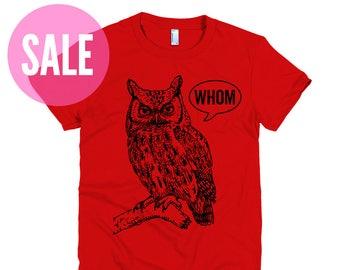 CLEARANCE English Teacher Gift for Teachers Editor Cool Funny T Grammar Shirt Funny Tshirts Who Whom Owl Tee Womens Shirt Womens TShirt
