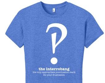 Librarian Gifts Funny Interrobang Grammar Shirt Punctuation Shirt English Teacher Women's Grammar Shirt Gifts for Teachers Typography Tshirt