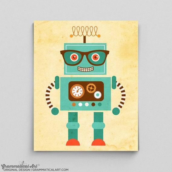 Impression de Robot de robot tout mignon affiche Tesla Science   Etsy