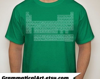 CLEARANCE Periodic Table Shirt Science T-Shirt Periodic Table of Elements T-Shirt GREEN 2XL Geekery Gift - Teacher Gifts for Teachers Humor