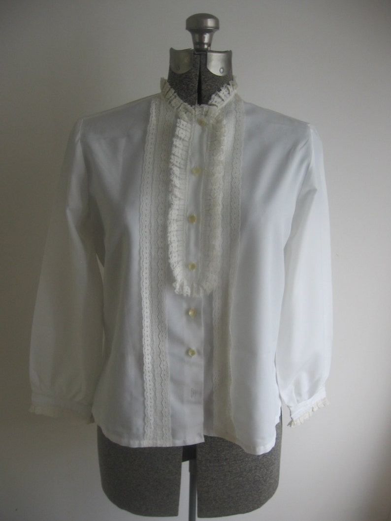 Vintage White Button up Tuxedo Style Blouse by Lady Holiday