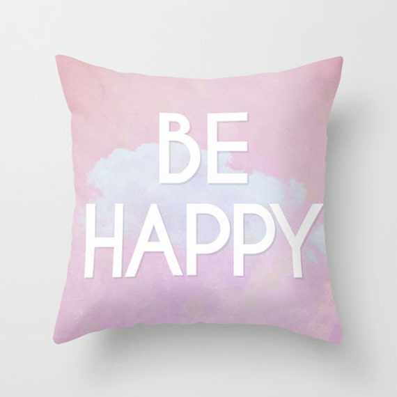 Be Happy Pillow - Dream Big Pillow Case - Inspirational Quote Pillow - Word  Pillows - Pink - Dream Big Quote - 16x16 18x18 20x20