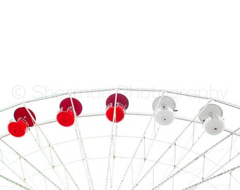 Carnival Photography - Ferris Wheel Print - Red and White Minimalist - 8x10 8x8 10x10 11x14 12x12 20x20 16x20 - Photography