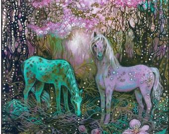 Appaloosa horses under the Apple Blossom,fantasy print, woodland decor, girl's room, abstract painting,decorative, wall decor...