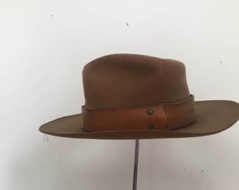 3102f9a11c2 Vintage Churchill s Cowboy Hat with Handmade Thick Leather Band - size 7