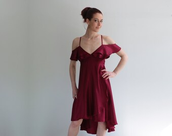 Burgundy Rose Petal Dress